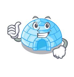 Thumbs up cartoon dome igloo ice house snow vector