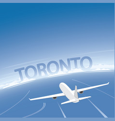 Toronto skyline flight destination vector