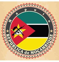 Vintage label cards of Mozambique flag vector