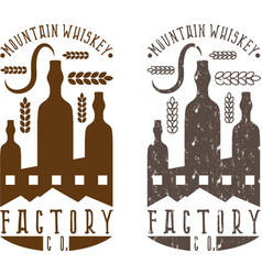 Vintage labels set of whiskey factory vector