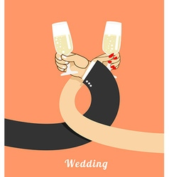 Wedding bride and groom drink champagne on vector