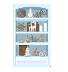 white rack with shelves filled with beautiful vector image