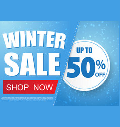 winter sale banner design with snow in blue vector image