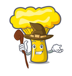 Witch chanterelle mushroom mascot cartoon vector