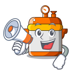with megaphone character cartoon modern cooker for vector image