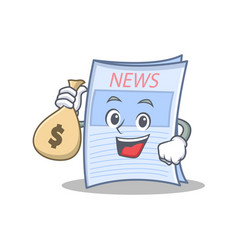 With money bag newspaper character cartoon style vector