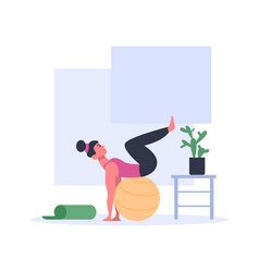 Woman doing exercises with ball wearing sport vector