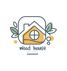 Wood house logo design ecologic home sign with vector