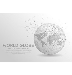 world globe digitally drawn low poly wire frame vector image
