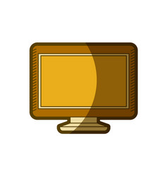 Yellow aged silhouette of lcd monitor vector