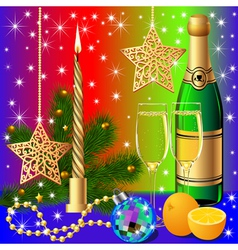 festive background with candle by ball by orange vector image