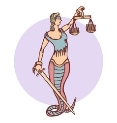 Isolated cartoon evil snake lady justice vector image vector image