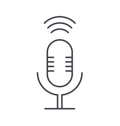 microphone sign line icon sign vector image