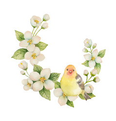 watercolor wreath with bird and flowers vector image