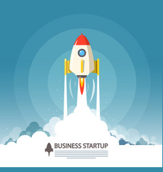 business startup symbol flat design rocket launch vector image