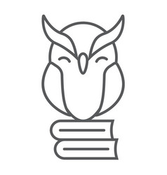 owl on books thin line icon e learning vector image