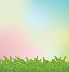 pastel bg with grass frame vector image vector image