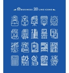 Set of White Business Icons vector image