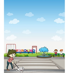 A child with her dog across a playground vector image vector image
