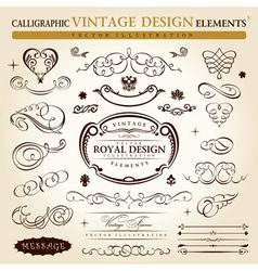 calligraphic elements vintage ornament set vector vector image