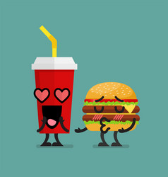 fast food fall in love vector image