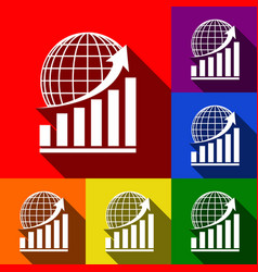 growing graph with earth set of icons vector image vector image