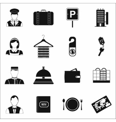 Hotel simple icons set vector image