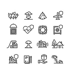 insurance cases and natural disasters line icons vector image