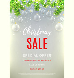 Christmas sale flyer template vector image vector image