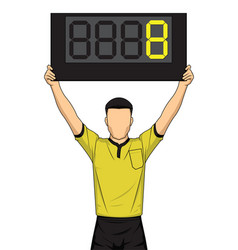 football referee shows extra time the soccer vector image