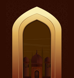 islamic doorway view arabian night islamic vector image