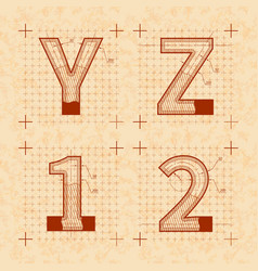 Medieval inventor sketches of y z 1 2 letters vector