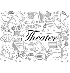 theater line art design vector image