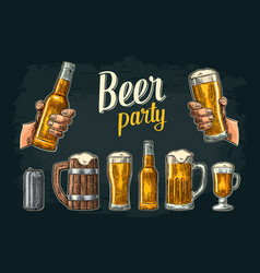 two hands holding beer glasses mug glass can vector image vector image