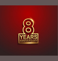 8 years golden anniversary line style isolated vector