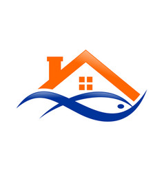 Abstract lake house watery fish orange blue logo vector