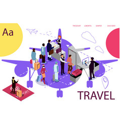 Airport isometric travel concept with reception vector