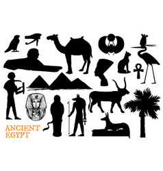 Ancient egypt symbols of gods and travel landmarks vector