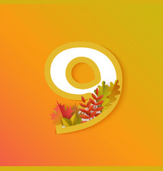 autumn nine 9 number with forest leaves vector image