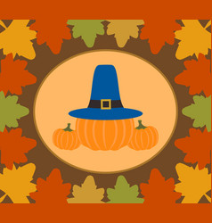 Autumn thanksgiving day background with pumpkin vector