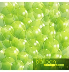 Background with green transparent balloons vector