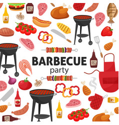 Barbecue party invitation bbq template menu vector