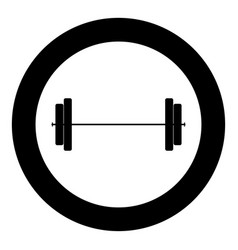 Barbell icon black color in circle vector