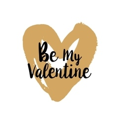 Be my Valentine on golden heart vector image