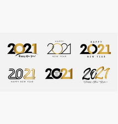 big set 2021 happy new year gold and black logo vector image