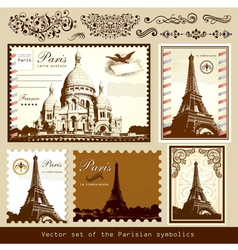 buildings and landmarks of paris vector image