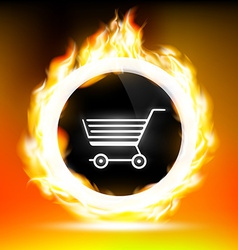 button with shopping cart and red flames vector image