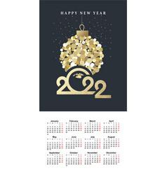 calendar grid 2022 vertical english vector image