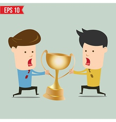 Cartoon business man snatching winner cup vector image