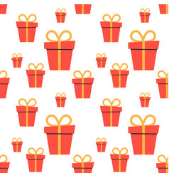 cartoon holiday boxes with bows seamless pattern vector image